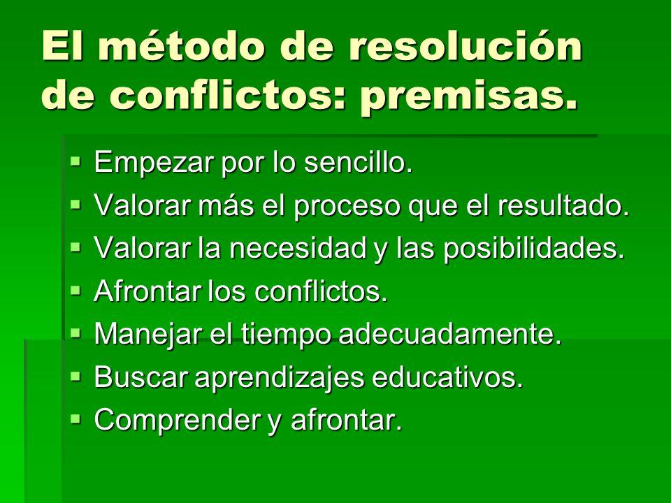 El método de resolución de conflictos: premisas. Empezar por lo sencillo. Empezar por lo sencillo. Valorar más el proceso que el resultado. Valorar má