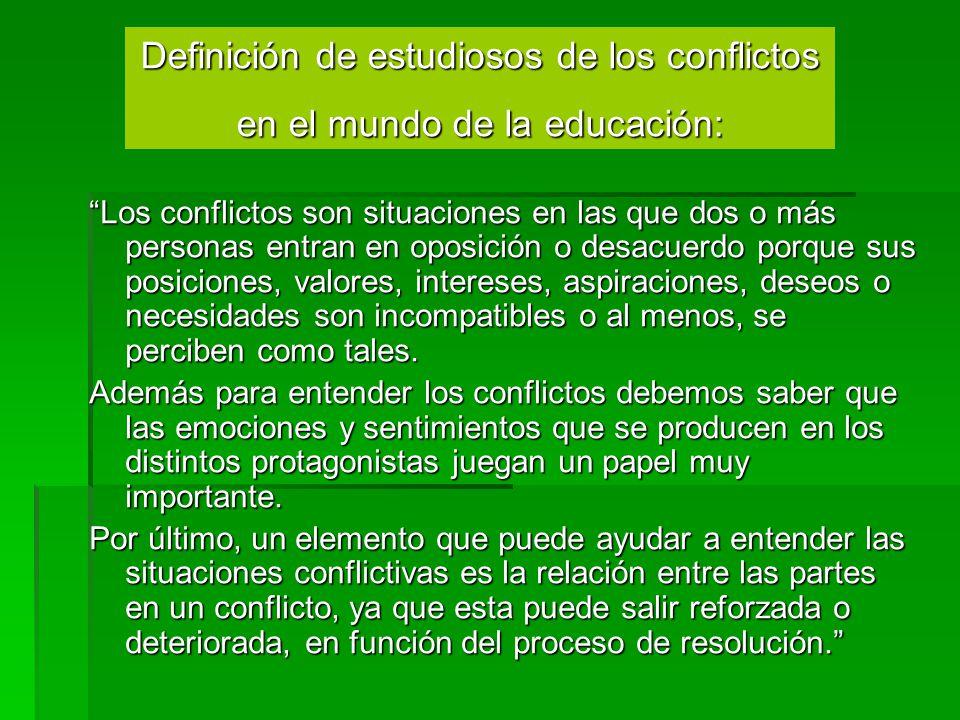 Los conflictos son situaciones en las que dos o más personas entran en oposición o desacuerdo porque sus posiciones, valores, intereses, aspiraciones,