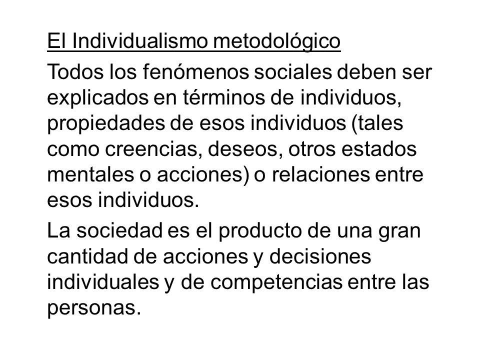 El Individualismo metodológico Todos los fenómenos sociales deben ser explicados en términos de individuos, propiedades de esos individuos (tales como