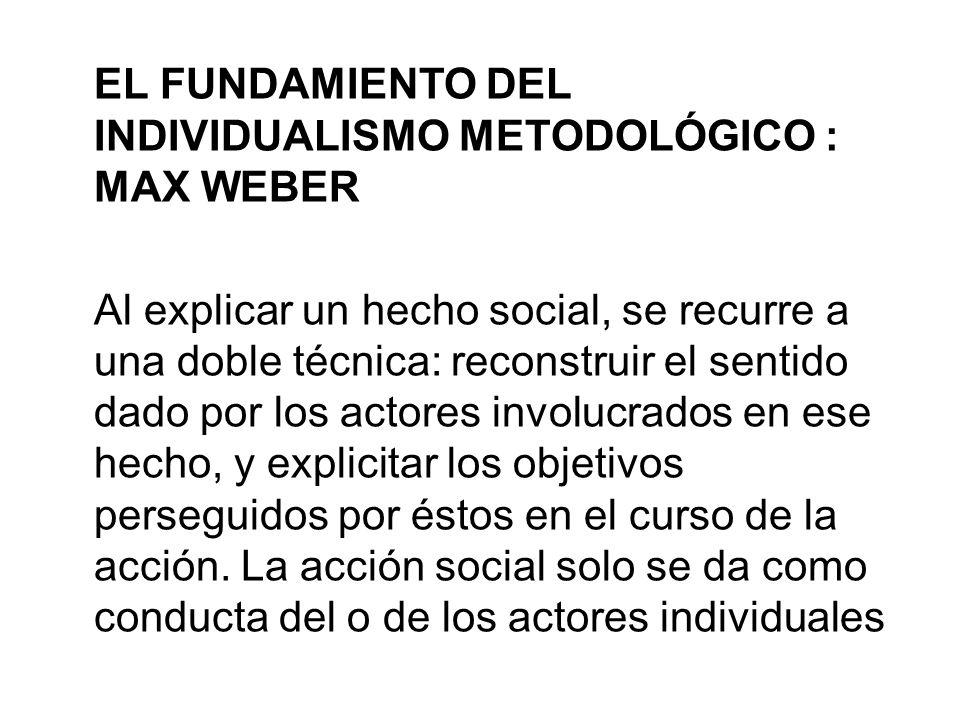 EL FUNDAMIENTO DEL INDIVIDUALISMO METODOLÓGICO : MAX WEBER Al explicar un hecho social, se recurre a una doble técnica: reconstruir el sentido dado po