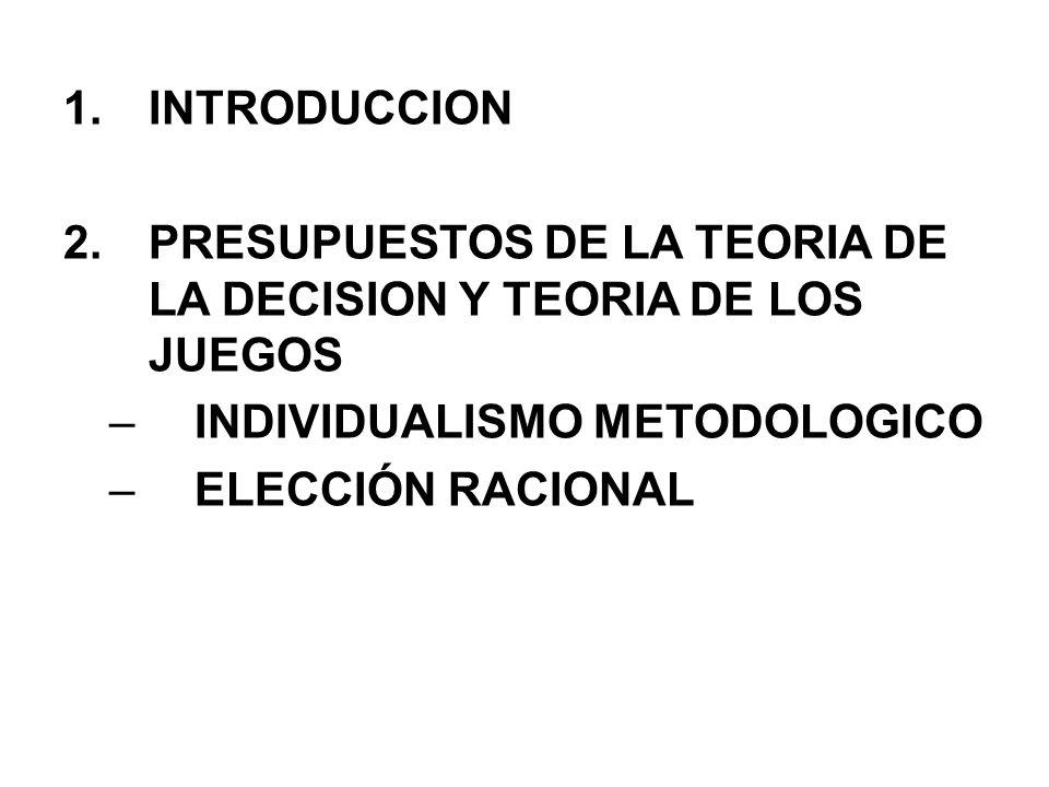 La teoría de la elección racional para justificar y explicar una conducta recurre a tres elementos necesarios para garantizar que se dé una situación de elección.