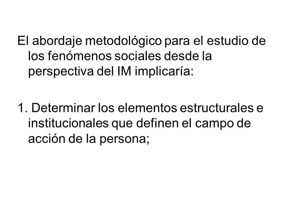 El abordaje metodológico para el estudio de los fenómenos sociales desde la perspectiva del IM implicaría: 1. Determinar los elementos estructurales e