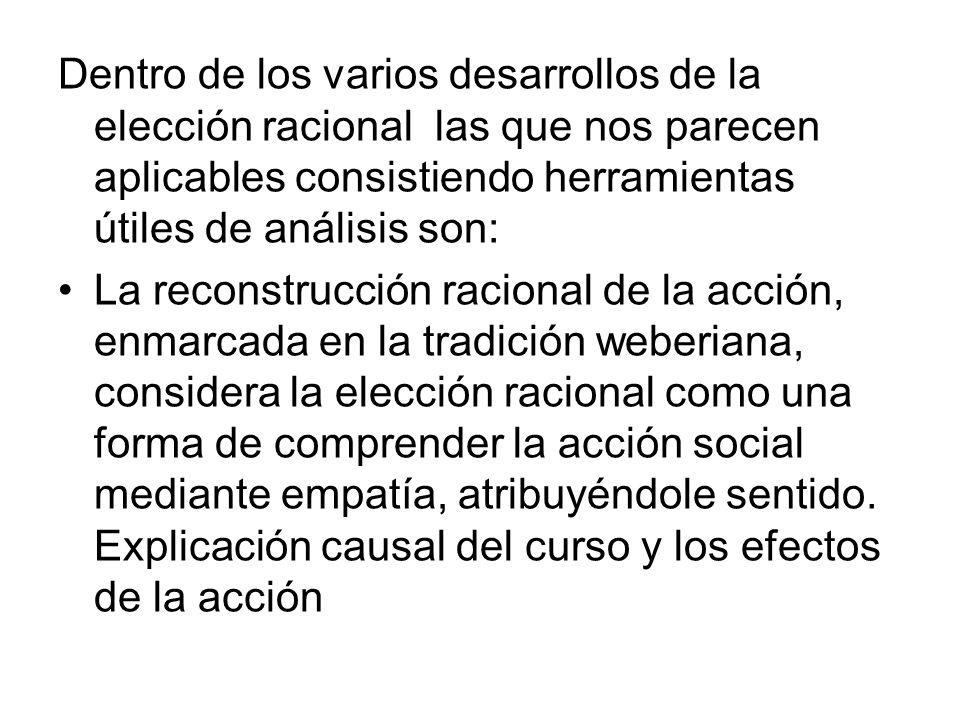 Dentro de los varios desarrollos de la elección racional las que nos parecen aplicables consistiendo herramientas útiles de análisis son: La reconstru