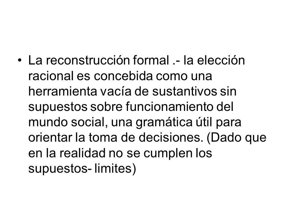 La reconstrucción formal.- la elección racional es concebida como una herramienta vacía de sustantivos sin supuestos sobre funcionamiento del mundo so