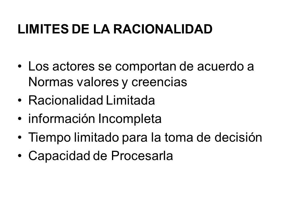 LIMITES DE LA RACIONALIDAD Los actores se comportan de acuerdo a Normas valores y creencias Racionalidad Limitada información Incompleta Tiempo limita