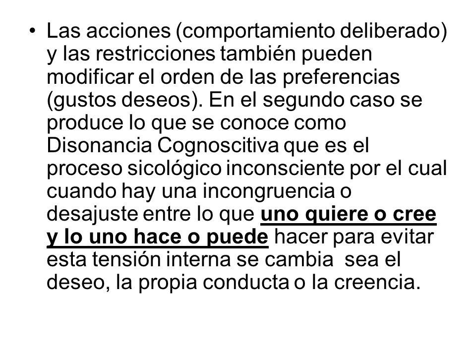 Las acciones (comportamiento deliberado) y las restricciones también pueden modificar el orden de las preferencias (gustos deseos). En el segundo caso