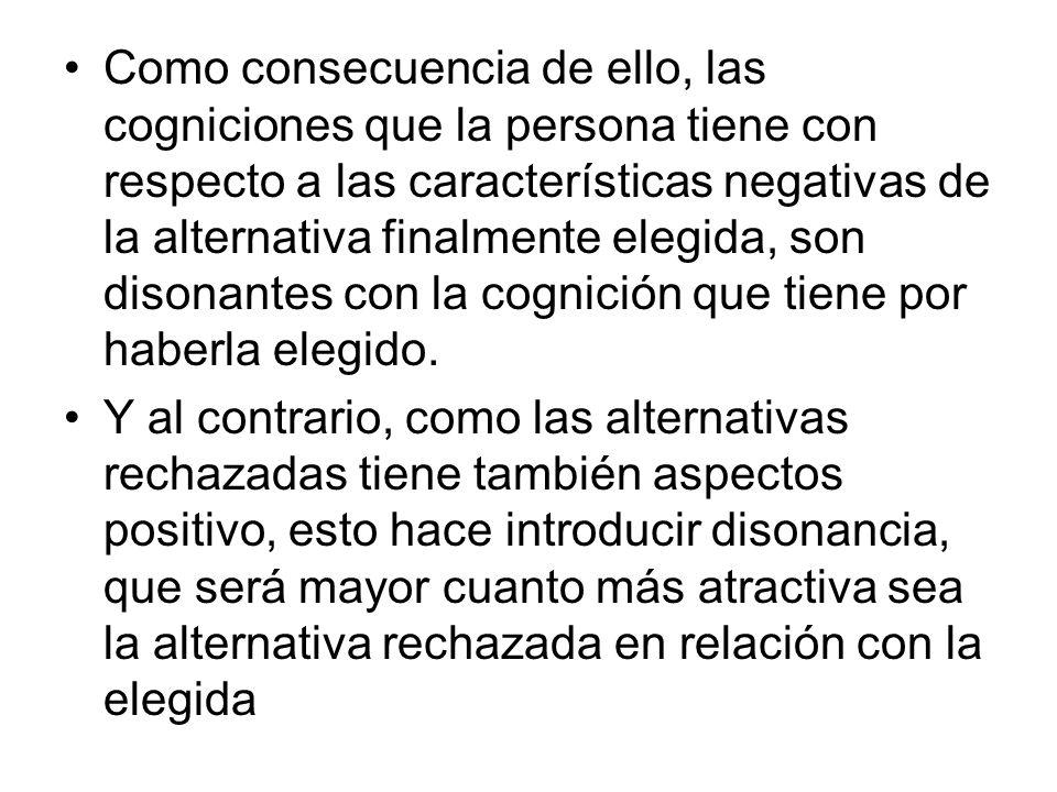 Como consecuencia de ello, las cogniciones que la persona tiene con respecto a las características negativas de la alternativa finalmente elegida, son