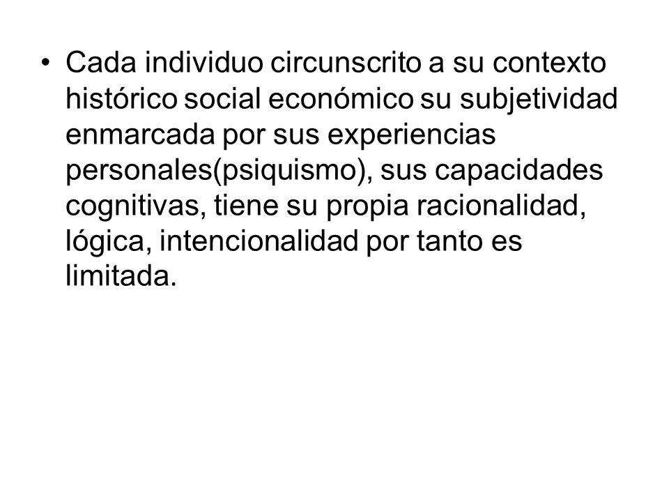Cada individuo circunscrito a su contexto histórico social económico su subjetividad enmarcada por sus experiencias personales(psiquismo), sus capacid