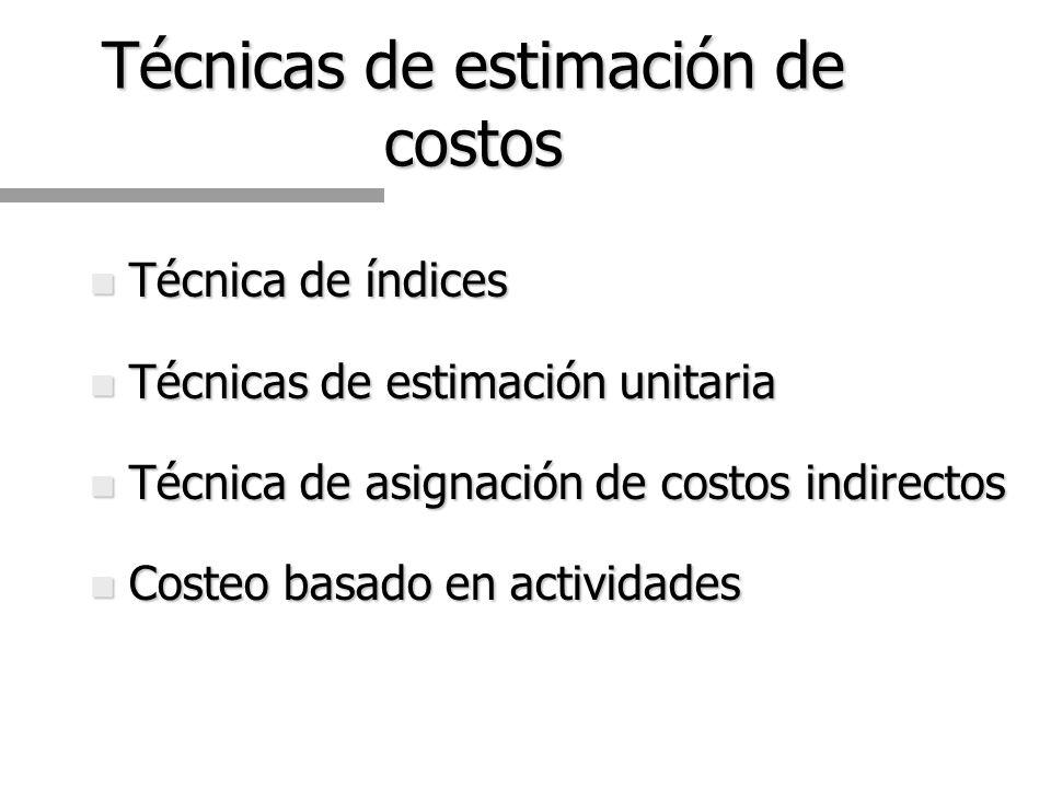 Técnicas de estimación de costos n Técnica de índices n Técnicas de estimación unitaria n Técnica de asignación de costos indirectos n Costeo basado en actividades