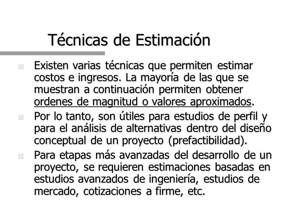 n Existen varias técnicas que permiten estimar costos e ingresos.