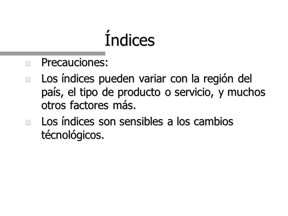 Índices n Precauciones: n Los índices pueden variar con la región del país, el tipo de producto o servicio, y muchos otros factores más.