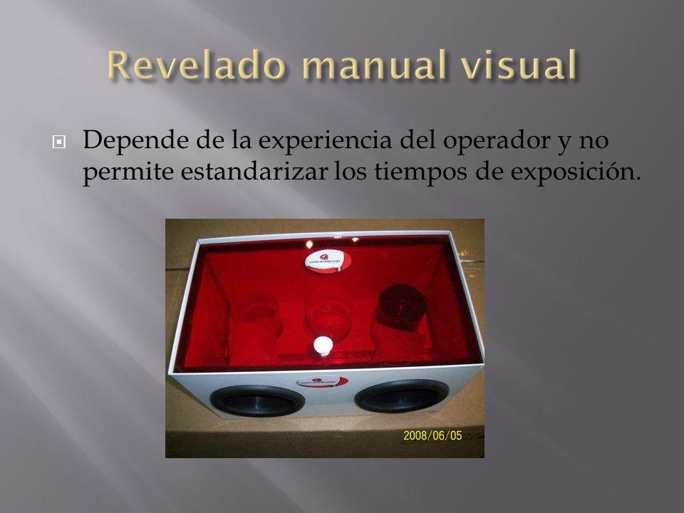 Depende de la experiencia del operador y no permite estandarizar los tiempos de exposición.
