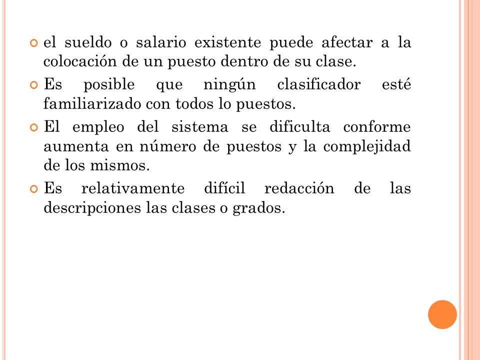 el sueldo o salario existente puede afectar a la colocación de un puesto dentro de su clase. Es posible que ningún clasificador esté familiarizado con