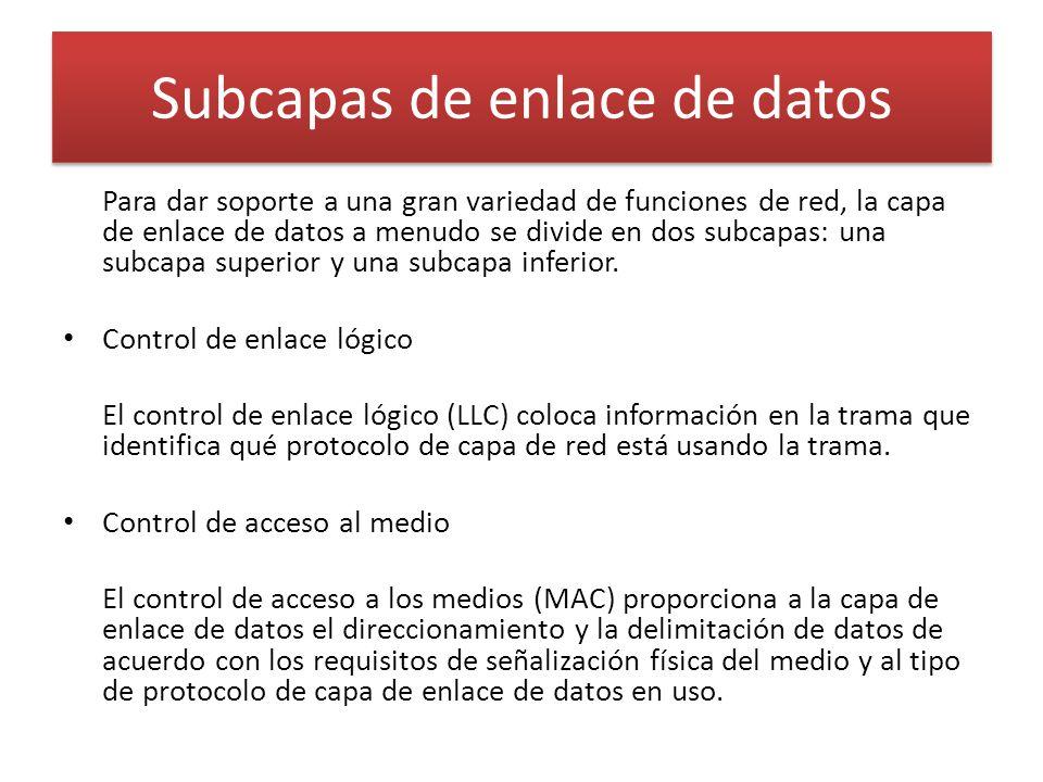 Subcapas de enlace de datos Para dar soporte a una gran variedad de funciones de red, la capa de enlace de datos a menudo se divide en dos subcapas: una subcapa superior y una subcapa inferior.