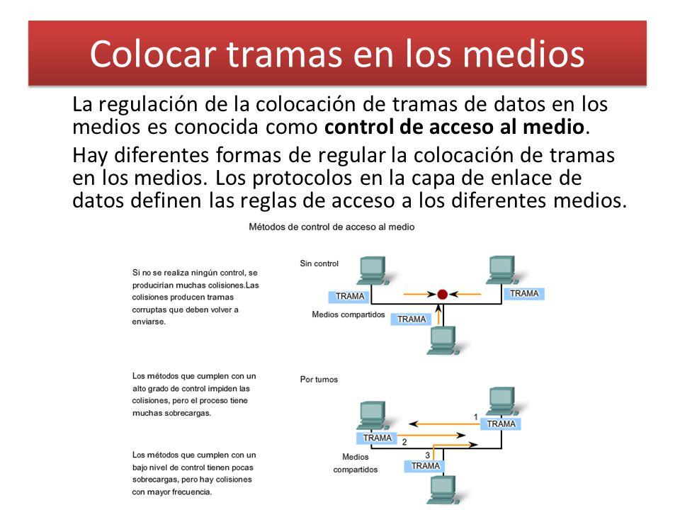 Colocar tramas en los medios La regulación de la colocación de tramas de datos en los medios es conocida como control de acceso al medio. Hay diferent