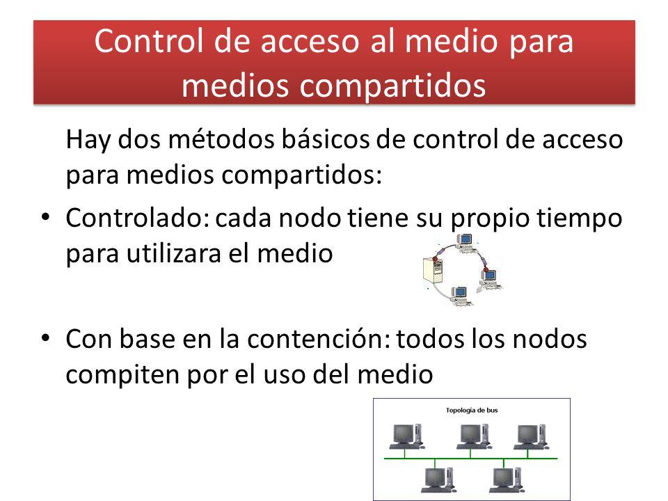 Control de acceso al medio para medios compartidos Hay dos métodos básicos de control de acceso para medios compartidos: Controlado: cada nodo tiene su propio tiempo para utilizara el medio Con base en la contención: todos los nodos compiten por el uso del medio