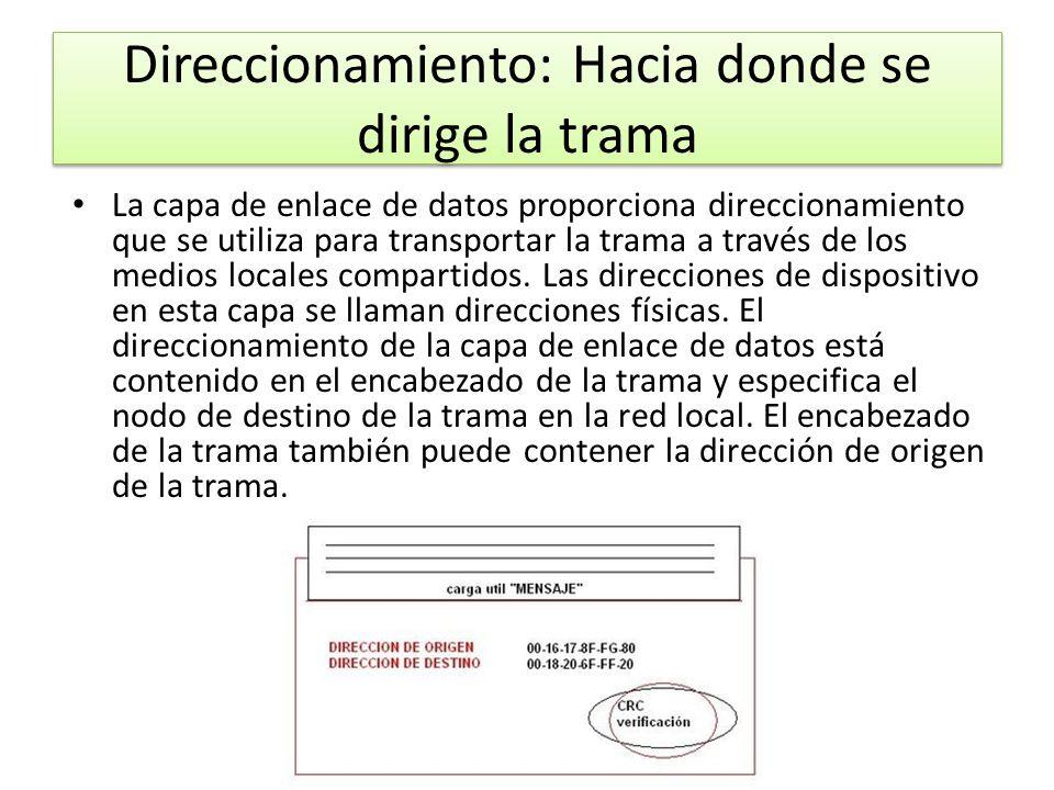 Direccionamiento: Hacia donde se dirige la trama La capa de enlace de datos proporciona direccionamiento que se utiliza para transportar la trama a tr