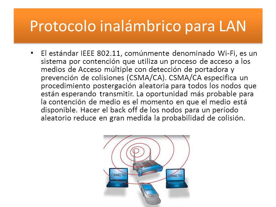 Protocolo inalámbrico para LAN El estándar IEEE 802.11, comúnmente denominado Wi-Fi, es un sistema por contención que utiliza un proceso de acceso a los medios de Acceso múltiple con detección de portadora y prevención de colisiones (CSMA/CA).