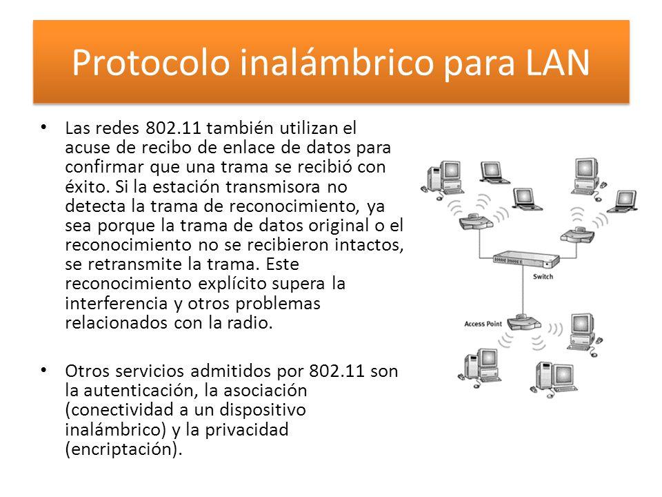 Las redes 802.11 también utilizan el acuse de recibo de enlace de datos para confirmar que una trama se recibió con éxito.