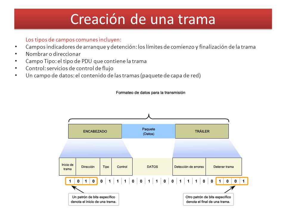 Los tipos de campos comunes incluyen: Campos indicadores de arranque y detención: los límites de comienzo y finalización de la trama Nombrar o direccionar Campo Tipo: el tipo de PDU que contiene la trama Control: servicios de control de flujo Un campo de datos: el contenido de las tramas (paquete de capa de red) Creación de una trama