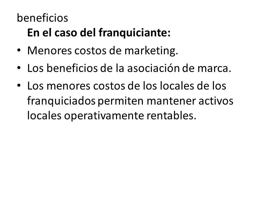 beneficios En el caso del franquiciante: Menores costos de marketing.