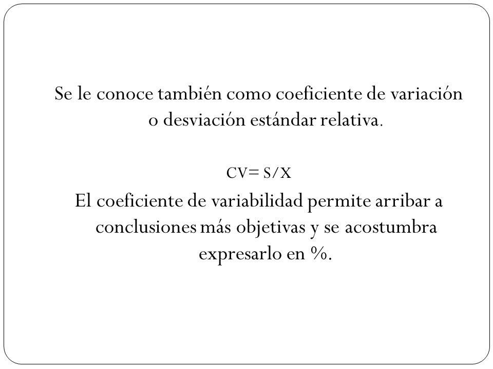 Dados al menos dos coeficientes de variabilidad, el menor de ellos pertenecerá a la distribución más homogénea.