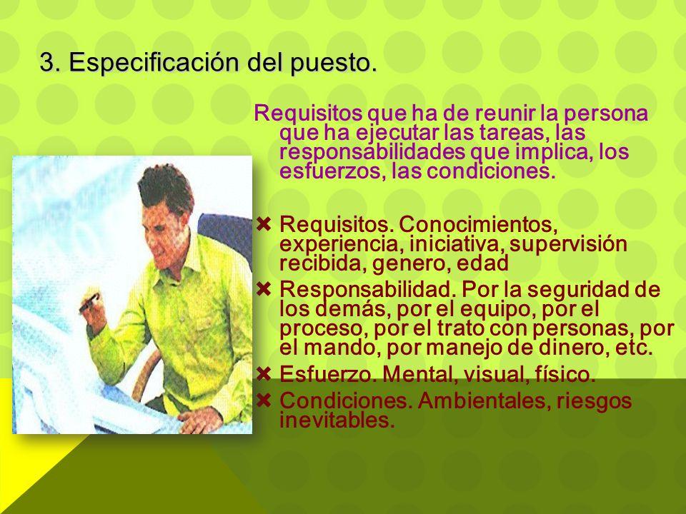 Requisitos que ha de reunir la persona que ha ejecutar las tareas, las responsabilidades que implica, los esfuerzos, las condiciones.