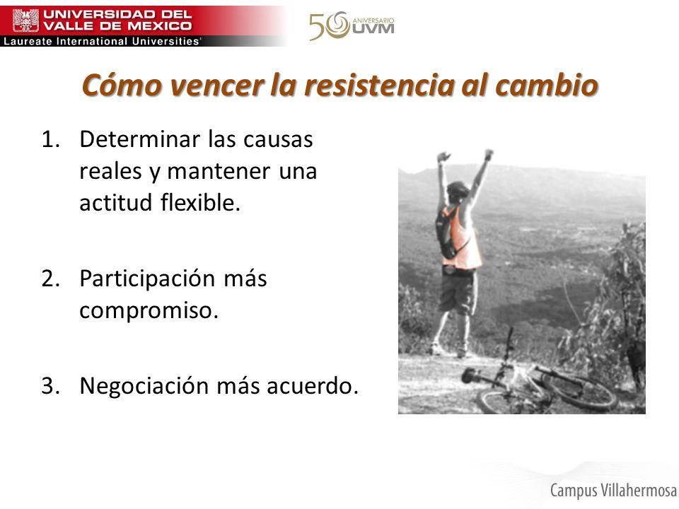 Cómo vencer la resistencia al cambio 1.Determinar las causas reales y mantener una actitud flexible. 2.Participación más compromiso. 3.Negociación más