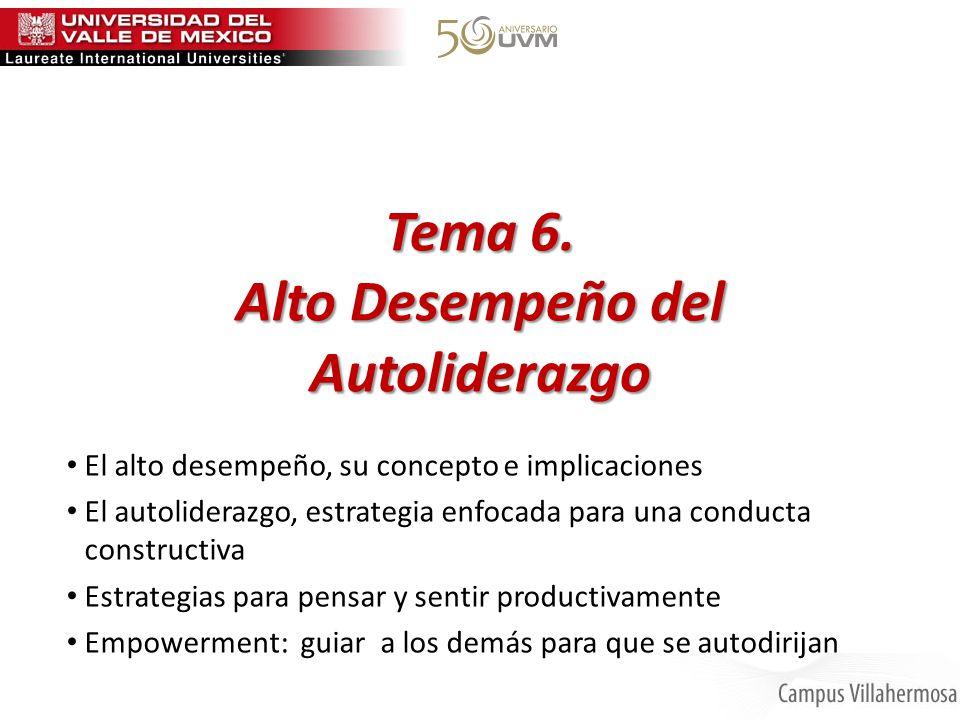Tema 6. Alto Desempeño del Autoliderazgo El alto desempeño, su concepto e implicaciones El autoliderazgo, estrategia enfocada para una conducta constr
