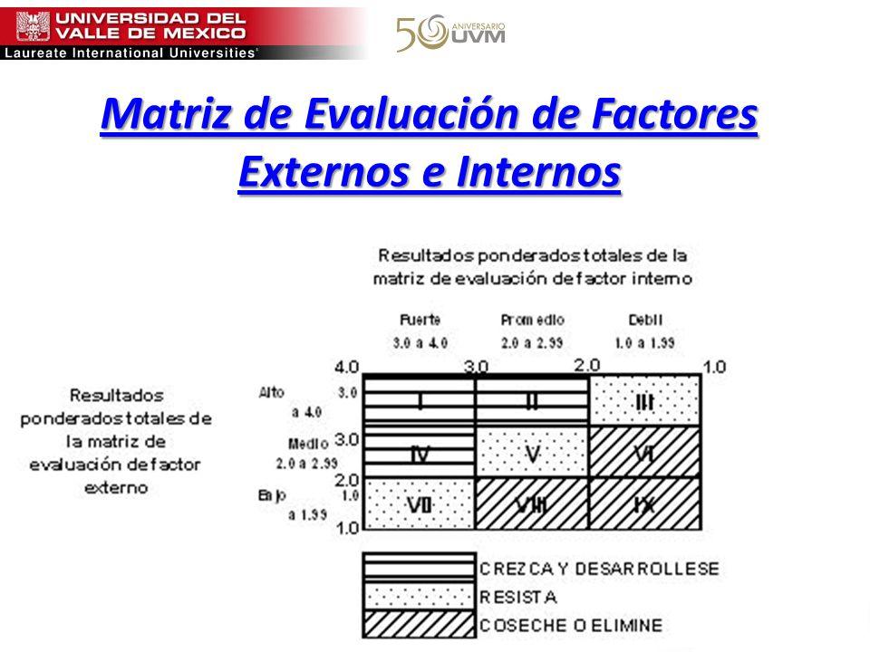 Matriz de Evaluación de Factores Externos e Internos Matriz de Evaluación de Factores Externos e Internos