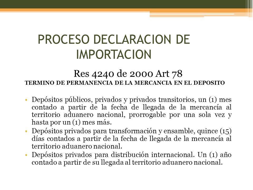 Res 4240 de 2000 Art 78 TERMINO DE PERMANENCIA DE LA MERCANCIA EN EL DEPOSITO Depósitos públicos, privados y privados transitorios, un (1) mes contado a partir de la fecha de llegada de la mercancía al territorio aduanero nacional, prorrogable por una sola vez y hasta por un (1) mes más.
