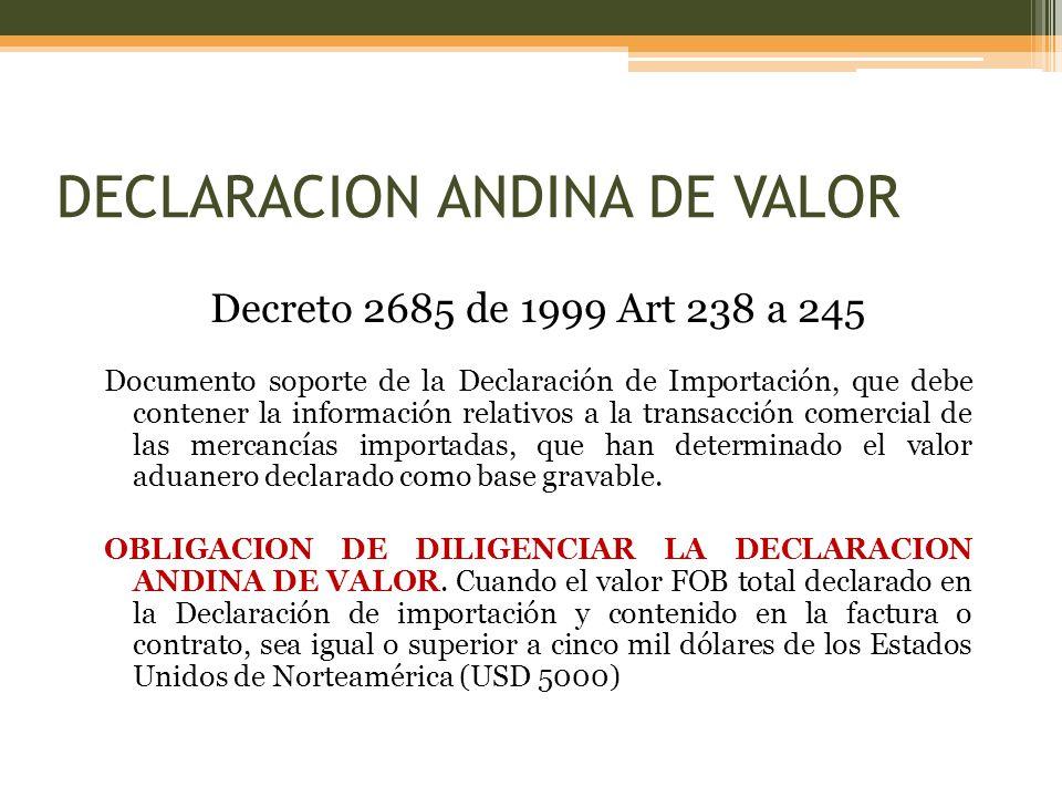 Decreto 2685 de 1999 Art 238 a 245 Documento soporte de la Declaración de Importación, que debe contener la información relativos a la transacción comercial de las mercancías importadas, que han determinado el valor aduanero declarado como base gravable.