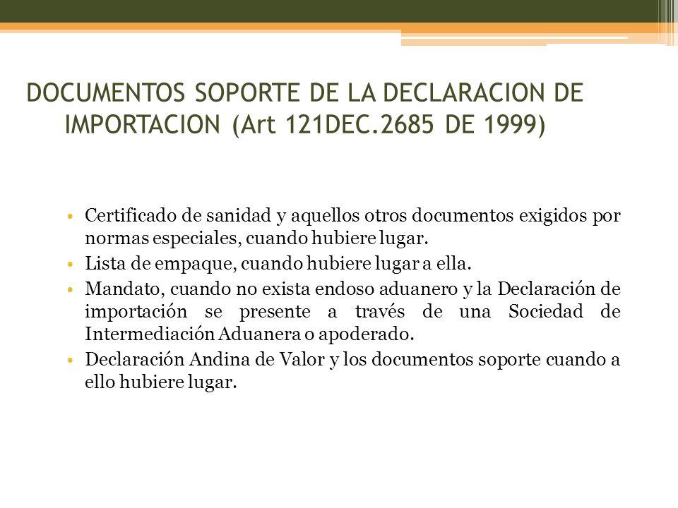Certificado de sanidad y aquellos otros documentos exigidos por normas especiales, cuando hubiere lugar.