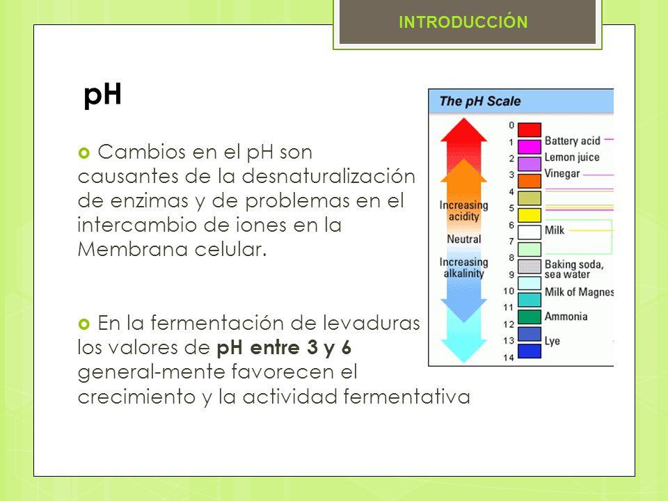 pH Cambios en el pH son causantes de la desnaturalización de enzimas y de problemas en el intercambio de iones en la Membrana celular. En la fermentac