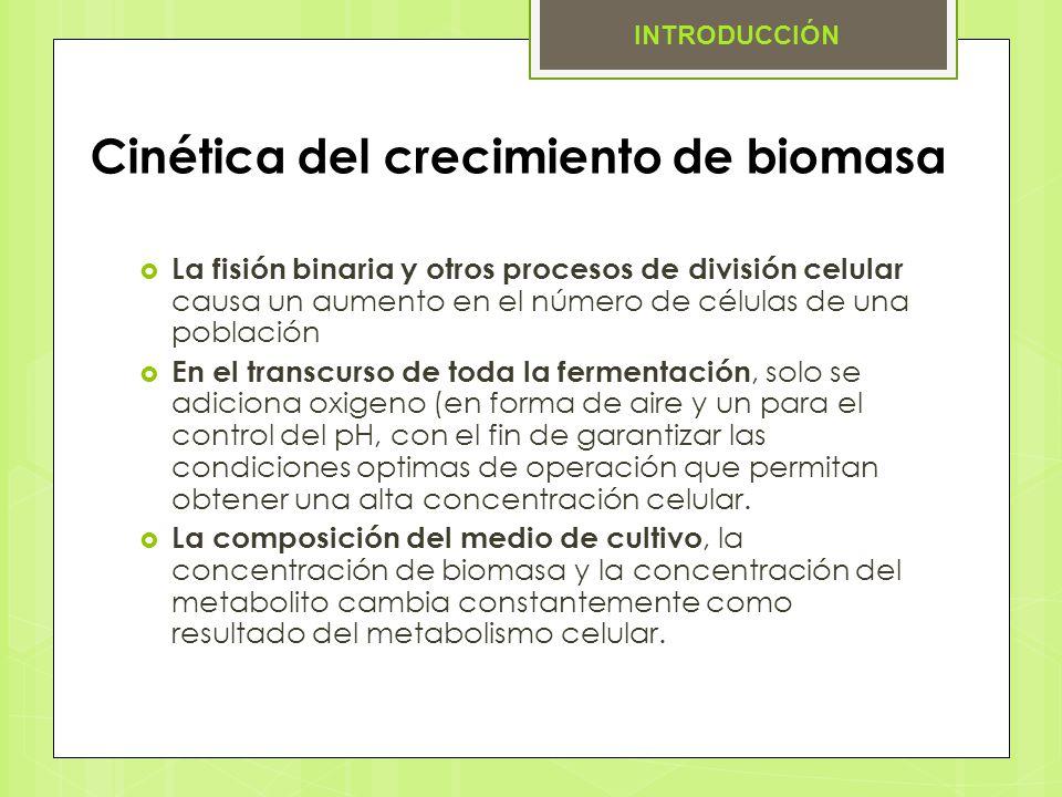 Cinética del crecimiento de biomasa La fisión binaria y otros procesos de división celular causa un aumento en el número de células de una población E