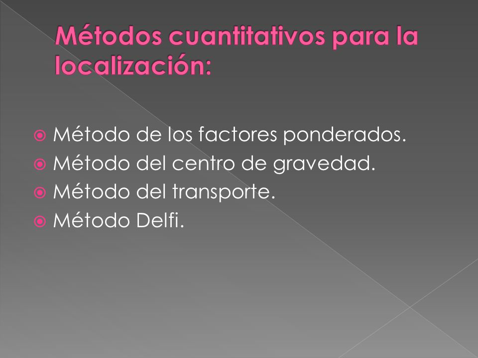 Método de los factores ponderados. Método del centro de gravedad. Método del transporte. Método Delfi.