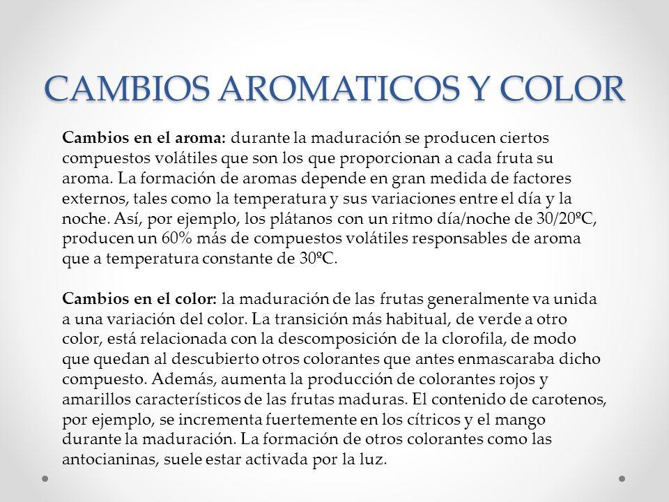 CAMBIOS AROMATICOS Y COLOR Cambios en el aroma: durante la maduración se producen ciertos compuestos volátiles que son los que proporcionan a cada fru