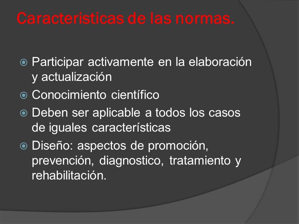 Caracteristicas de las normas. Participar activamente en la elaboración y actualización Conocimiento científico Deben ser aplicable a todos los casos