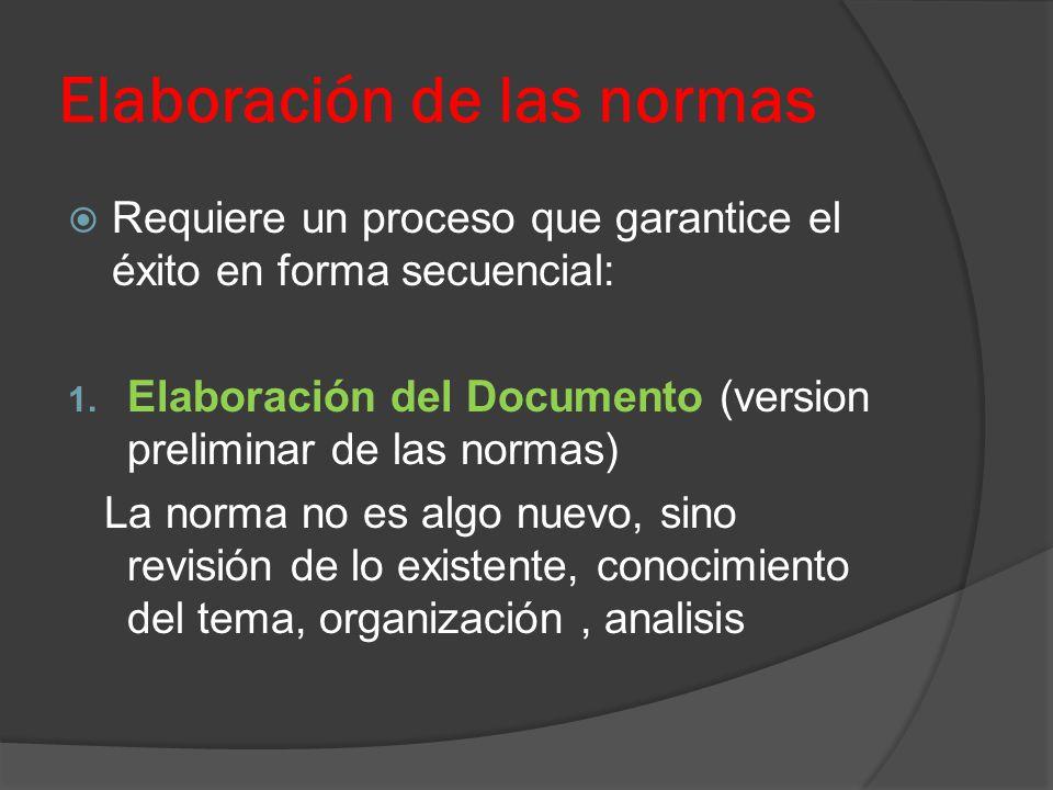 Elaboración de las normas Requiere un proceso que garantice el éxito en forma secuencial: 1. Elaboración del Documento (version preliminar de las norm