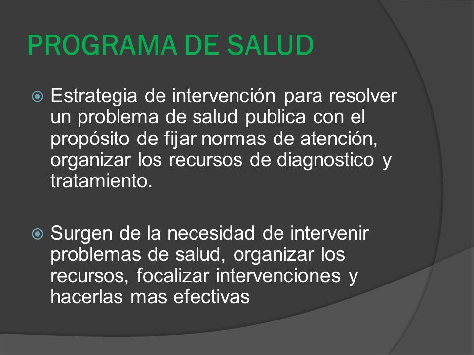 PROGRAMA DE SALUD Estrategia de intervención para resolver un problema de salud publica con el propósito de fijar normas de atención, organizar los re