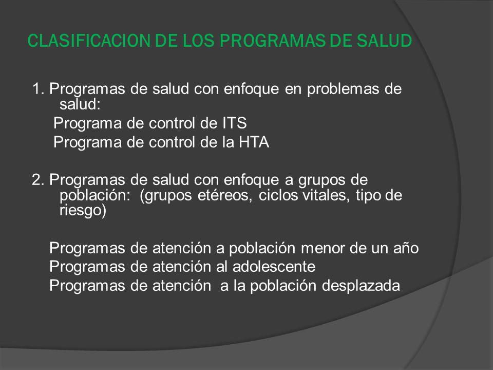 CLASIFICACION DE LOS PROGRAMAS DE SALUD 1. Programas de salud con enfoque en problemas de salud: Programa de control de ITS Programa de control de la