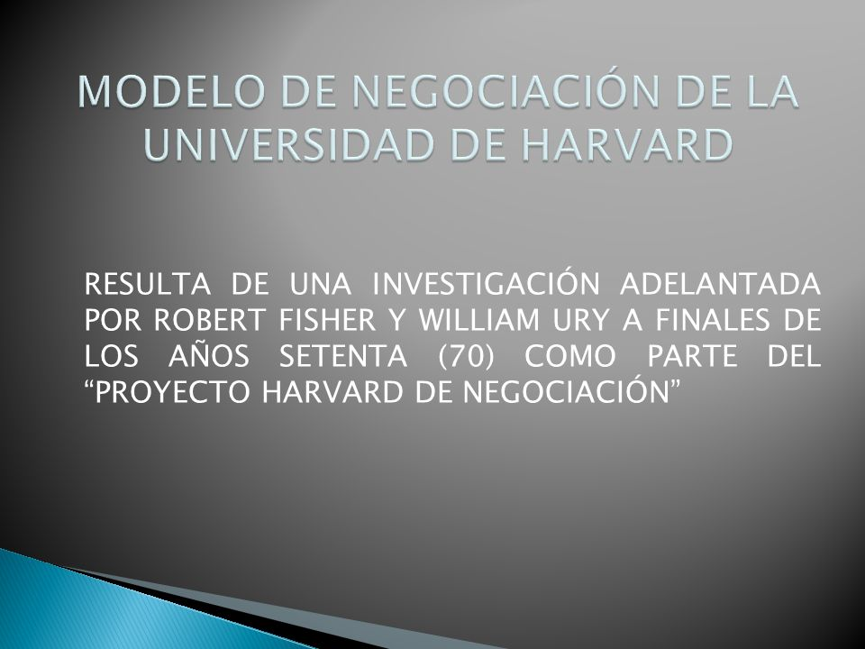 RESULTA DE UNA INVESTIGACIÓN ADELANTADA POR ROBERT FISHER Y WILLIAM URY A FINALES DE LOS AÑOS SETENTA (70) COMO PARTE DEL PROYECTO HARVARD DE NEGOCIAC