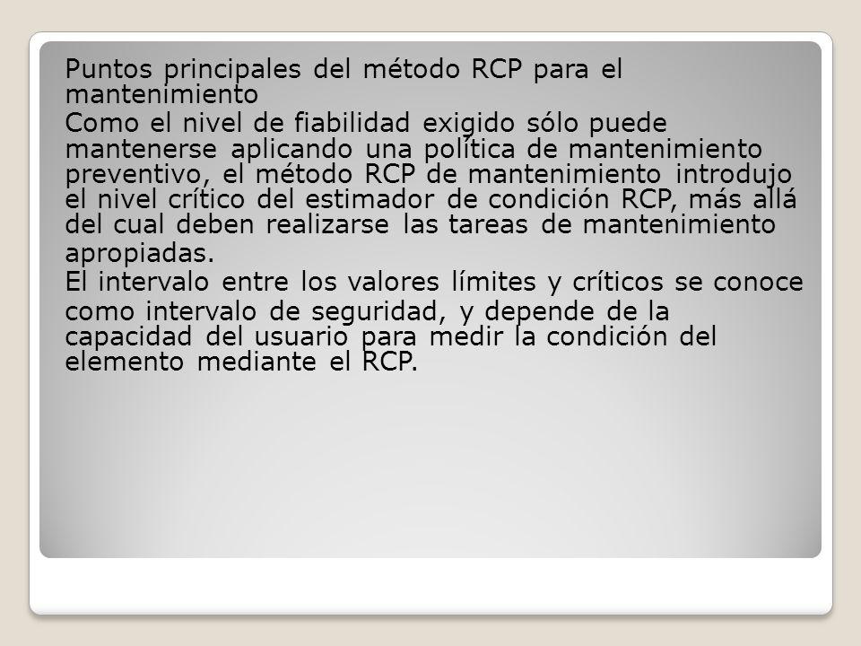 Puntos principales del método RCP para el mantenimiento Como el nivel de fiabilidad exigido sólo puede mantenerse aplicando una política de mantenimiento preventivo, el método RCP de mantenimiento introdujo el nivel crítico del estimador de condición RCP, más allá del cual deben realizarse las tareas de mantenimiento apropiadas.