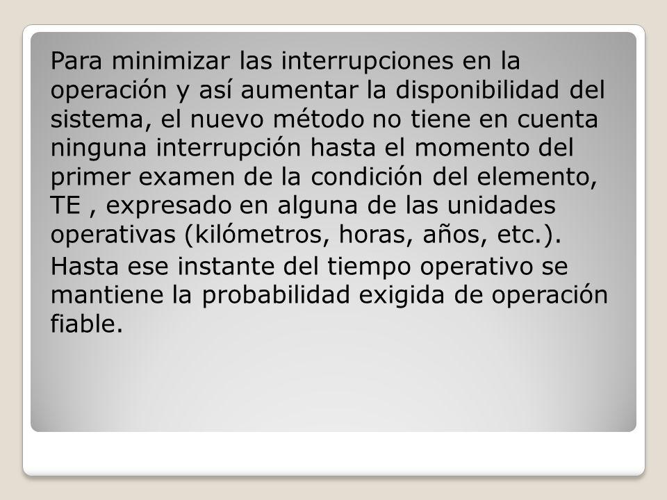 Para minimizar las interrupciones en la operación y así aumentar la disponibilidad del sistema, el nuevo método no tiene en cuenta ninguna interrupción hasta el momento del primer examen de la condición del elemento, TE, expresado en alguna de las unidades operativas (kilómetros, horas, años, etc.).