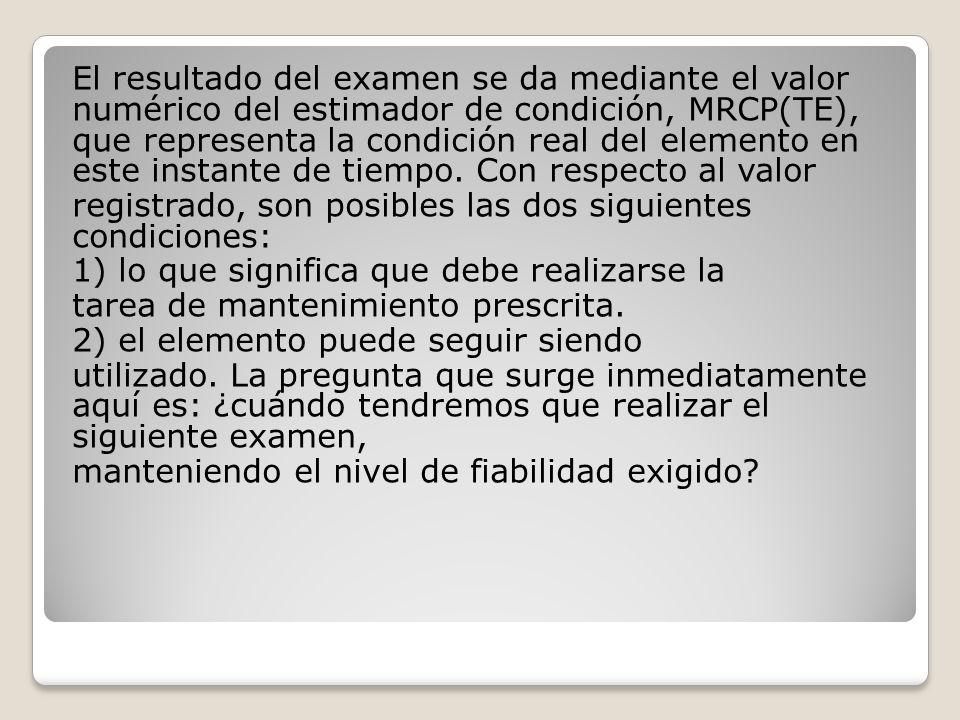 El resultado del examen se da mediante el valor numérico del estimador de condición, MRCP(TE), que representa la condición real del elemento en este instante de tiempo.