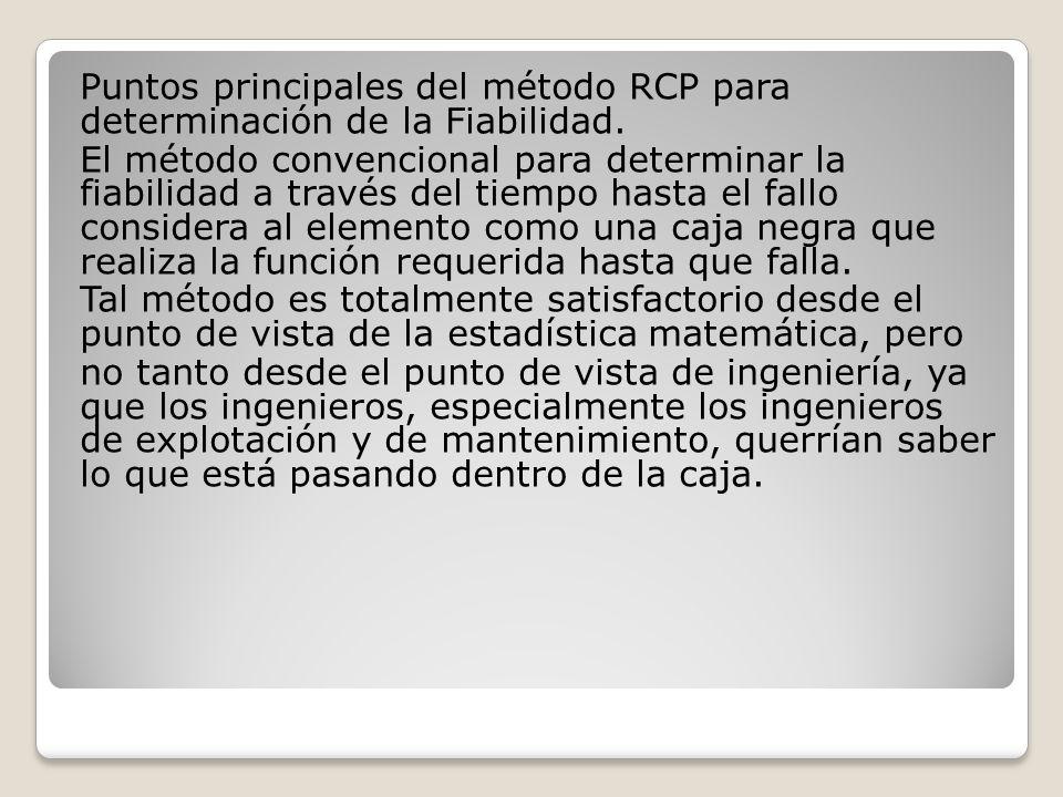 Puntos principales del método RCP para determinación de la Fiabilidad.