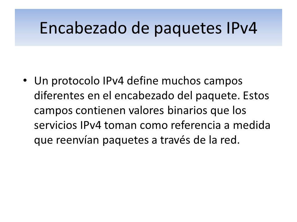 Encabezado de paquetes IPv4 Un protocolo IPv4 define muchos campos diferentes en el encabezado del paquete. Estos campos contienen valores binarios qu
