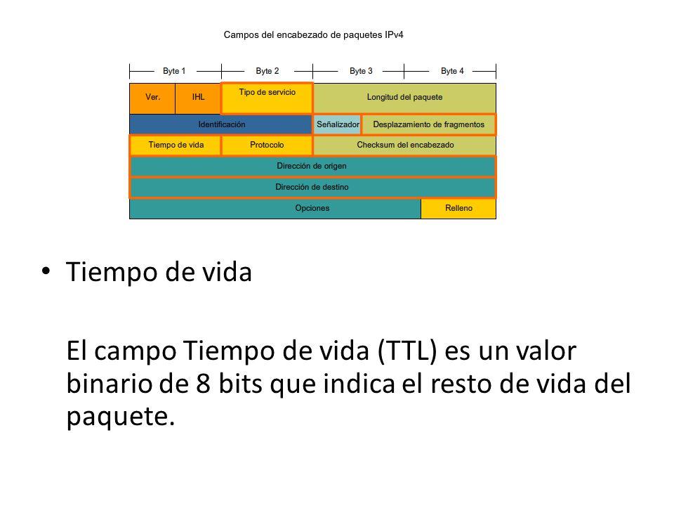 Tiempo de vida El campo Tiempo de vida (TTL) es un valor binario de 8 bits que indica el resto de vida del paquete.