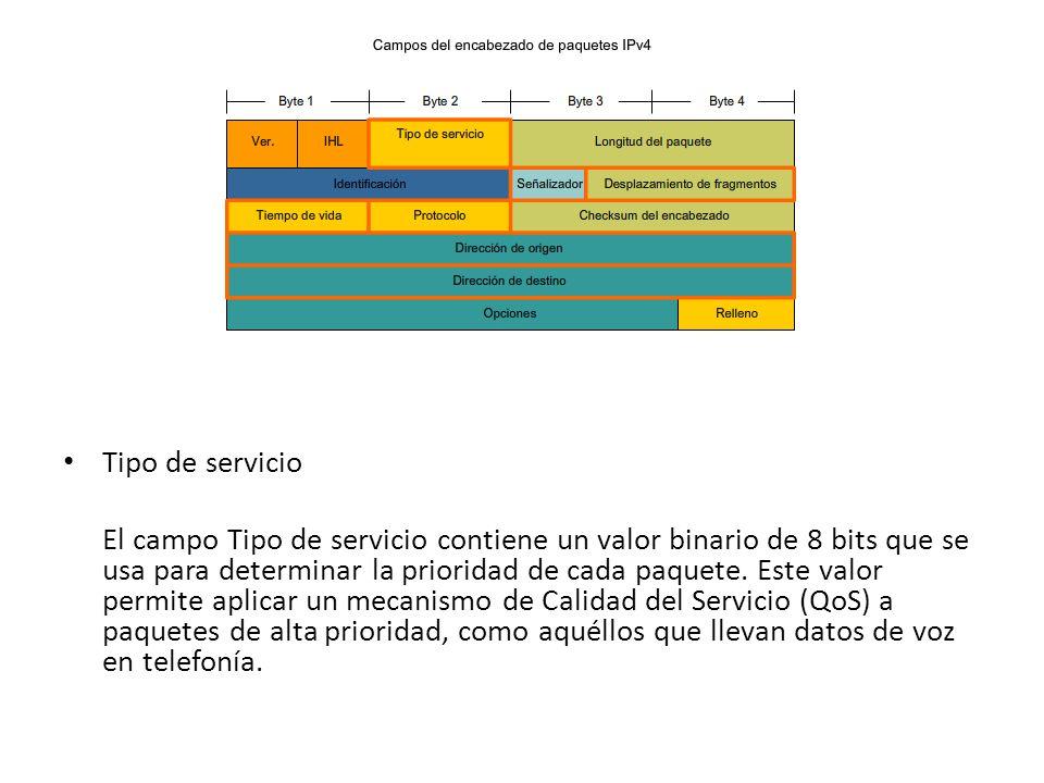 Tipo de servicio El campo Tipo de servicio contiene un valor binario de 8 bits que se usa para determinar la prioridad de cada paquete. Este valor per