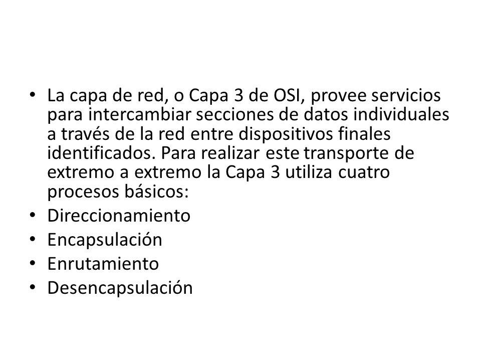 La capa de red, o Capa 3 de OSI, provee servicios para intercambiar secciones de datos individuales a través de la red entre dispositivos finales iden